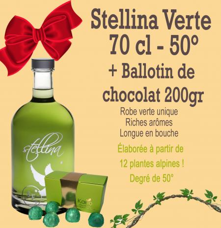 Stellia verte 70 cl et son ballotin au chocolat 200gr